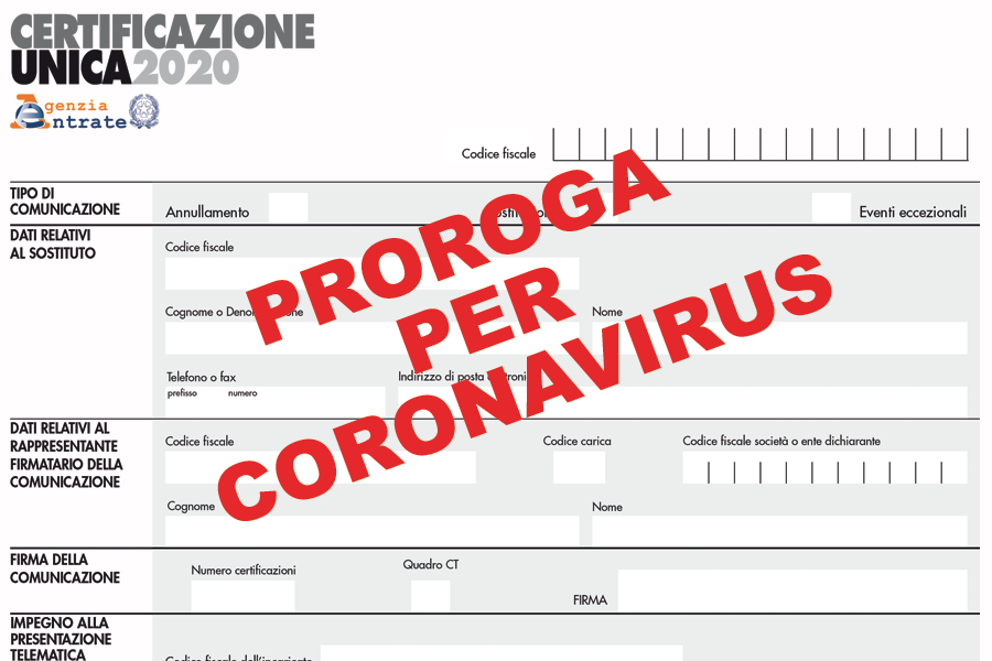 certificazione unica 2020 proroga coronavirius
